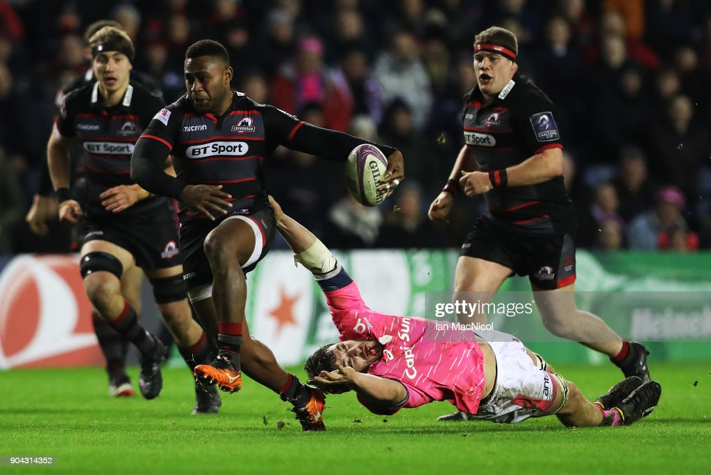Junior Rasolea of Edinburgh Rugby drives forward with the ball during the European Rugby Challenge Cup match between Edinburgh and Stade Francais Paris at Murrayfield Stadium on January 12, 2018 in Edinburgh, United Kingdom.