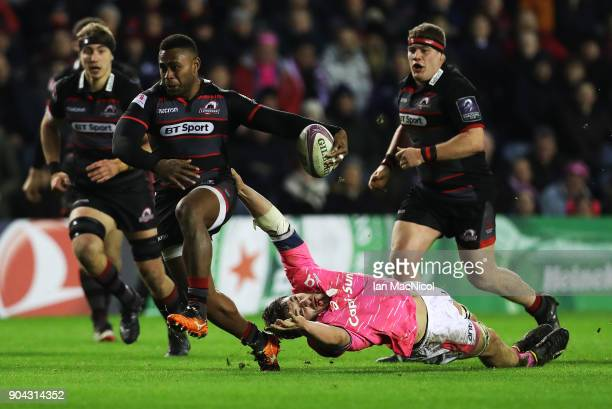 Junior Rasolea of Edinburgh Rugby drives forward with the ball during the European Rugby Challenge Cup match between Edinburgh and Stade Francais...