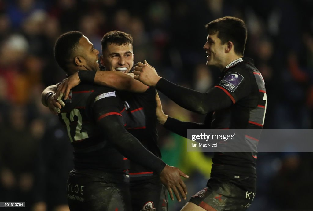 Junior Rasolea of Edinburgh Rugby is congratulated by team mate Damien Hoylandafter he scores his team's third try during the European Rugby Challenge Cup match between Edinburgh and Stade Francais Paris at Murrayfield Stadium on January 12, 2018 in Edinburgh, United Kingdom.