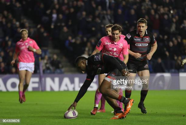 Junior Rasolea of Edinburgh Rugby score his team's third try during the European Rugby Challenge Cup match between Edinburgh and Stade Francais Paris...