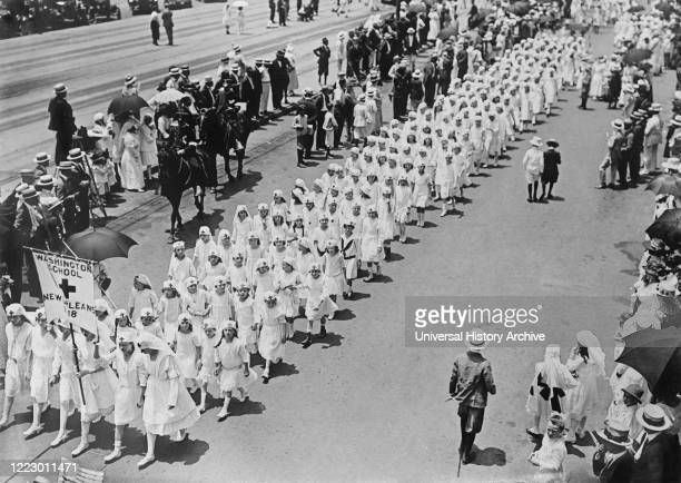 Junior Red Cross, Gulf Division, Washington School, marching in Parade, New Orleans, Louisiana, USA, American National Red Cross Photograph...