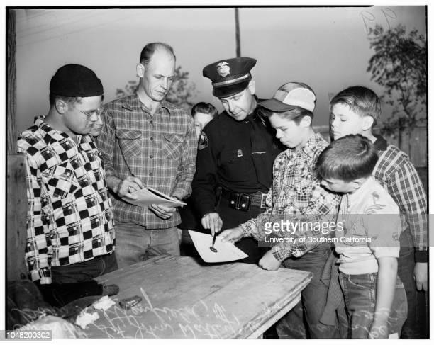 Junior Rifle Club awards Long Beach Police pistol range 05 January 1952 William H Dovey Chief of Police Long Beach presenting diplomaDonald...