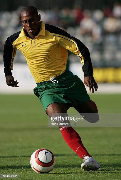 Junior Robert of Togo in action during the International friendly match between Morocco and Togo at the Stade Diochon on August 17 in Rouen France