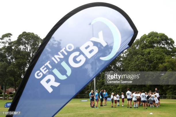 Junior rugby players participate during the Rugby Australia 'Get Into Rugby' announcement at Lindfield Rugby Club on February 21 2019 in Sydney...