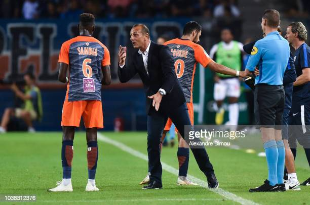 Junior Sambia and Michel Der Zakarian head coach of Montpellier during the Ligue 1 match between Montpellier and Nice at Stade de la Mosson on...