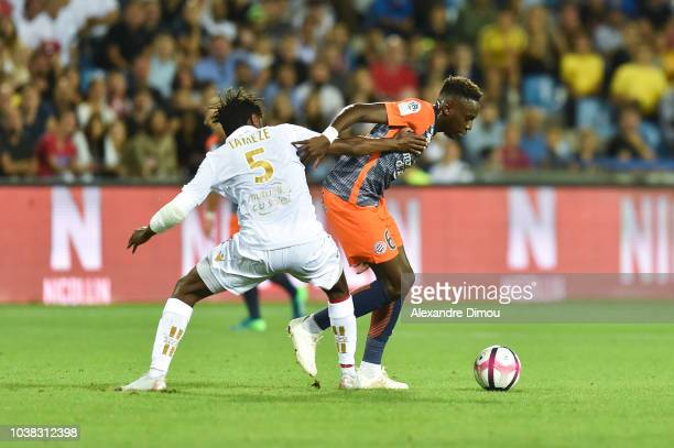 Junior Sambia of Montpellier and Adrien Tameze of Nice during the Ligue 1 match between Montpellier and Nice at Stade de la Mosson on September 22...