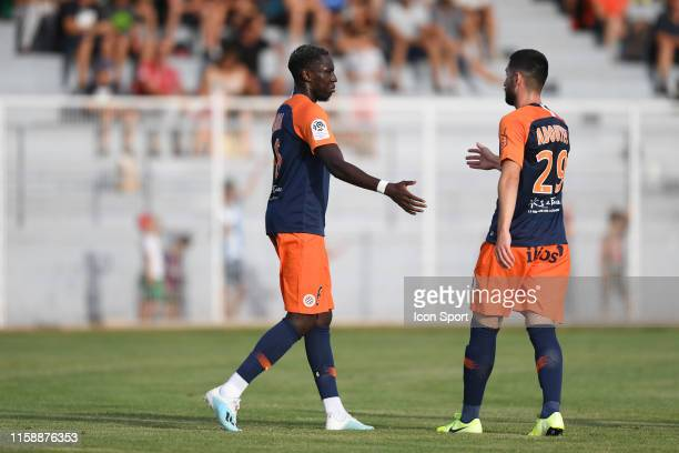 Junior Sambia of Montpellier celebrates a goal with Amir Adduyev during the Friendly match between Montpellier and UNFP on July 31 2019 in...