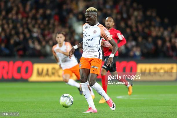 Junior Sambia of Montpellier during the French League Cup match between EA Guingamp and Montpellier Herault SC on October 24 2017 in Guingamp France