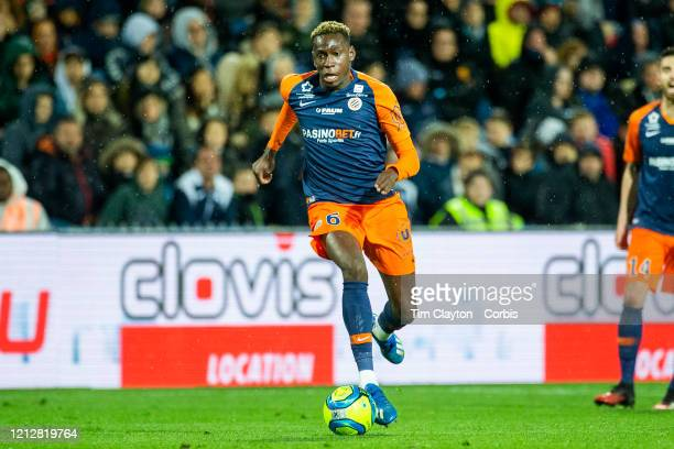 February 29: Junior Sambia of Montpellier in action during the Montpellier V Strasbourg, French Ligue 1 regular season match at Stade de la Mosson on...