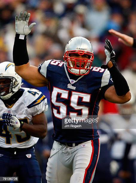 Junior Seau of the New England Patriots reacts after a play against the San Diego Chargers during the AFC Championship Game against on January 20...