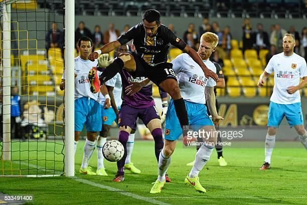Junior Sergio Dutra of Sporting Lokeren in action during the UEFA Europa League Qualifying Play-Off First Leg match between KSC Koninklijke Sporting...