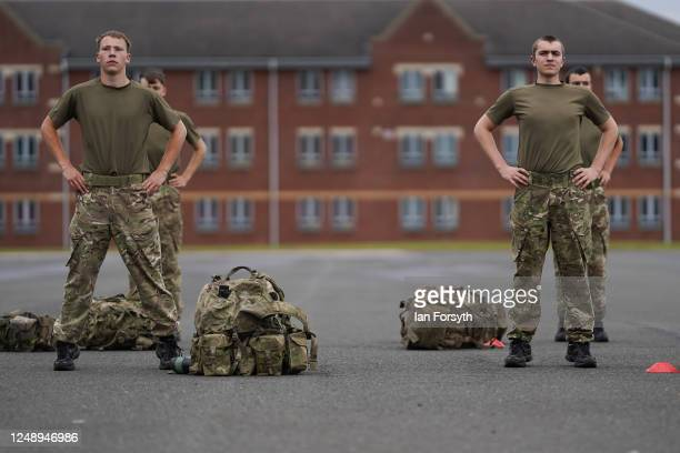 Junior Soldiers take part in socially distanced physical training at the Army Foundation College in Harrogate on June 11, 2020 in Harrogate, United...