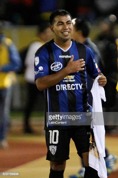 Junior Sornoza of Independiente del Valle celebrates after scoring the first goal of his team during a first leg match between Independiente del...