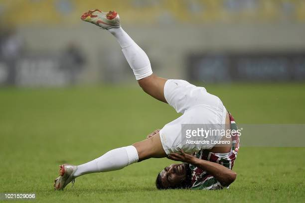 Junior Sornoza of Fluminense reacts during the match between Fluminense and Corinthians as part of Brasileirao Series A 2018 at Maracana Stadium on...