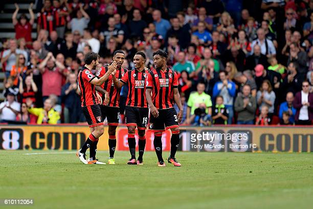Junior Stanislas celebrates his goal with Jordon Ibe Callum Wilson and Harry Arter before the Premier League match between AFC Bournemouth and...