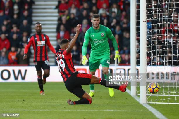 Junior Stanislas of AFC Bournemouth attempts to keep the ball in during the Premier League match between AFC Bournemouth and Southampton at Vitality...