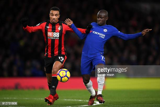 Junior Stanislas of AFC Bournemouth battles for possesion with N'Golo Kante of Chelsea during the Premier League match between Chelsea and AFC...