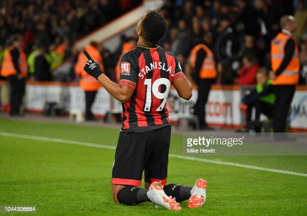 Junior Stanislas of AFC Bournemouth celebrates after he scores his sides second goal from the penalty spot during the Premier League match between...