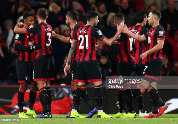 Junior Stanislas of AFC Bournemouth celebrates after scoring his team's first goal with team mates during the Carabao Cup Fourth Round match between...