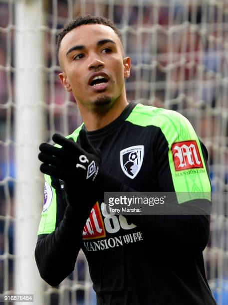 Junior Stanislas of AFC Bournemouth celebrates after scoring his sides first goal during the Premier League match between Huddersfield Town and AFC...