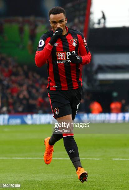 Junior Stanislas of AFC Bournemouth celebrates after scoring his sides first goal during the Premier League match between AFC Bournemouth and...