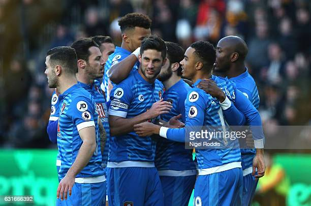 Junior Stanislas of AFC Bournemouth celebrates scoring his sides first goal with his AFC Bournemouth team mates during the Premier League match...