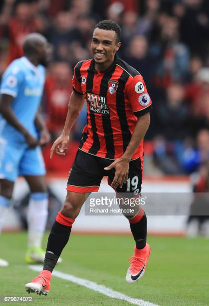 Junior Stanislas of AFC Bournemouth celebrates scoring his sides first goal during the Premier League match between AFC Bournemouth and Stoke City at...