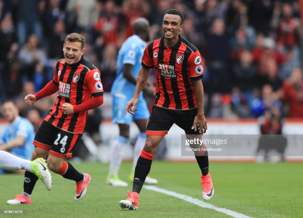 Junior Stanislas of AFC Bournemouth celebrates scoring his sides first goal during the Premier League match between AFC Bournemouth and Stoke City at the Vitality Stadium on May 6, 2017 in Bournemouth, England.