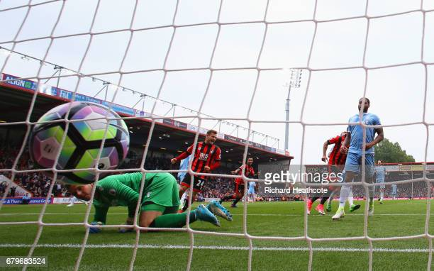 Junior Stanislas of AFC Bournemouth celebrates scoring his sides first goal the Premier League match between AFC Bournemouth and Stoke City at the...