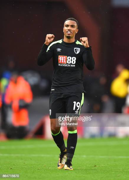 Junior Stanislas of AFC Bournemouth celebrates their win at the end of the Premier League match between Stoke City and AFC Bournemouth at Bet365...
