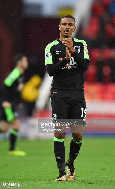Junior Stanislas of AFC Bournemouth claps the fans after the Premier League match between Stoke City and AFC Bournemouth at Bet365 Stadium on October...