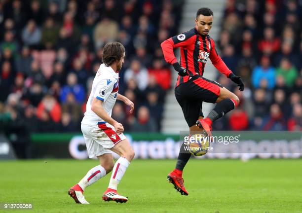 Junior Stanislas of AFC Bournemouth controls the ball during the Premier League match between AFC Bournemouth and Stoke City at Vitality Stadium on...