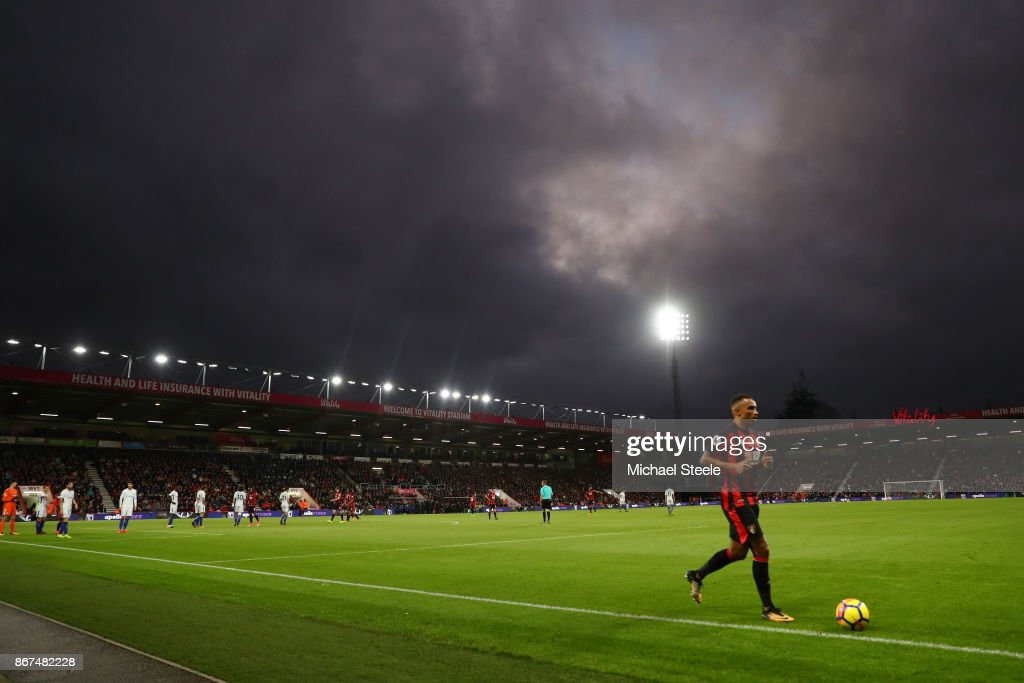Junior Stanislas of AFC Bournemouth prepares to take a corner kick during the Premier League match between AFC Bournemouth and Chelsea at Vitality Stadium on October 28, 2017 in Bournemouth, England.