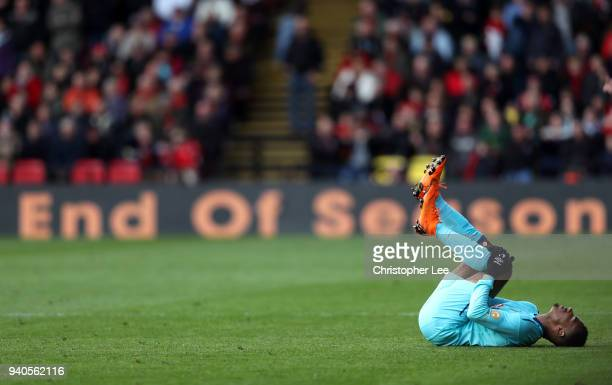 Junior Stanislas of AFC Bournemouth reacts during the Premier League match between Watford and AFC Bournemouth at Vicarage Road on March 31 2018 in...