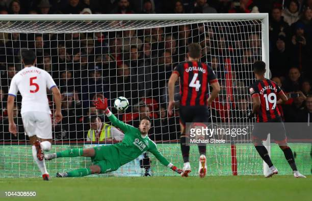 Junior Stanislas of AFC Bournemouth scores from the penalty spot after a foul by Mamadou Sakho of Crystal Palace on Jefferson Lerma of AFC...