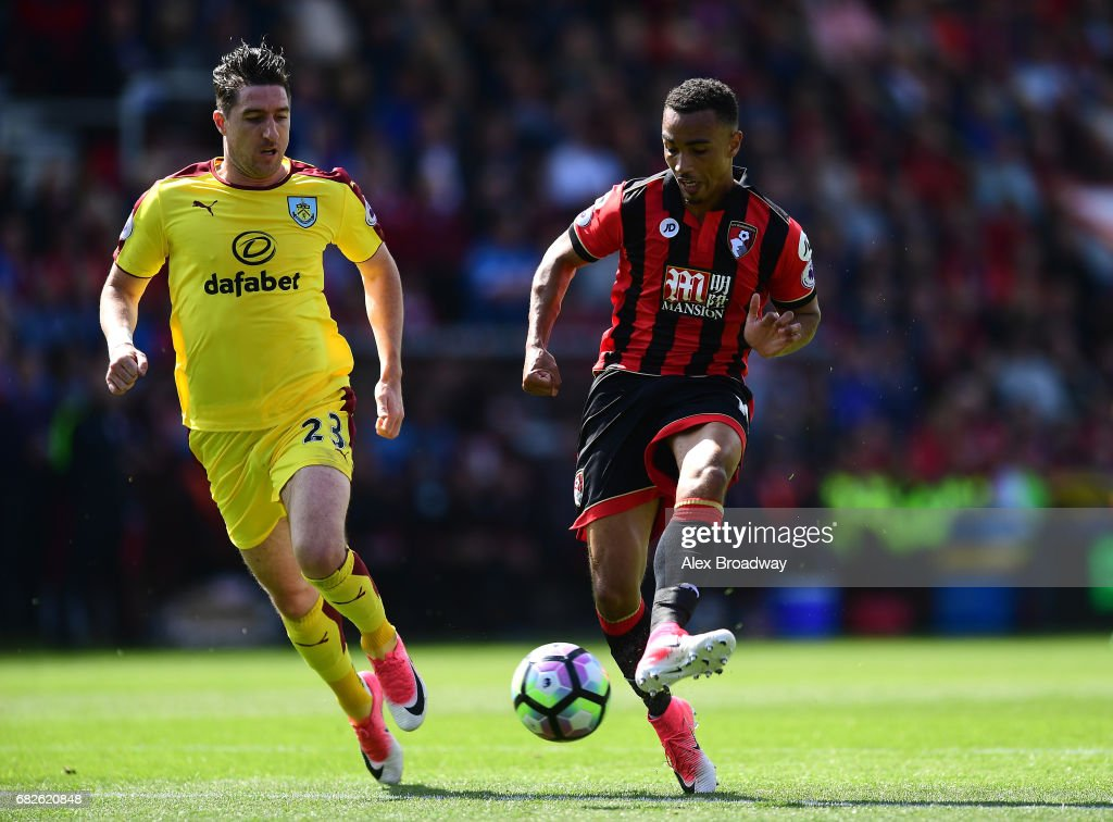 Junior Stanislas of AFC Bournemouth scores his sides first goal during the Premier League match between AFC Bournemouth and Burnley at Vitality Stadium on May 13, 2017 in Bournemouth, England.
