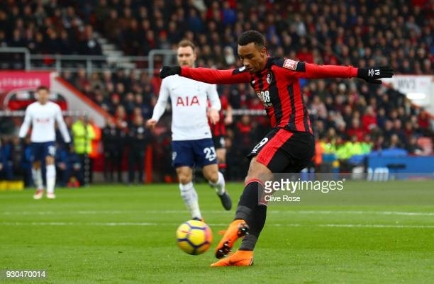 Junior Stanislas of AFC Bournemouth scores his sides first goal during the Premier League match between AFC Bournemouth and Tottenham Hotspur at...