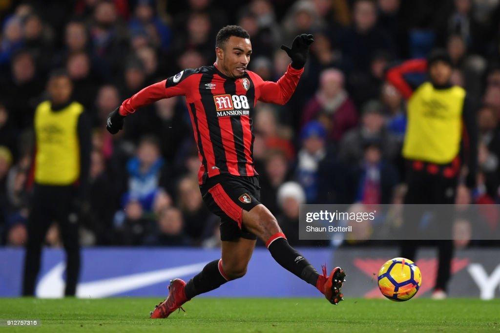 Junior Stanislas of AFC Bournemouth scores his sides second goal during the Premier League match between Chelsea and AFC Bournemouth at Stamford Bridge on January 31, 2018 in London, England.