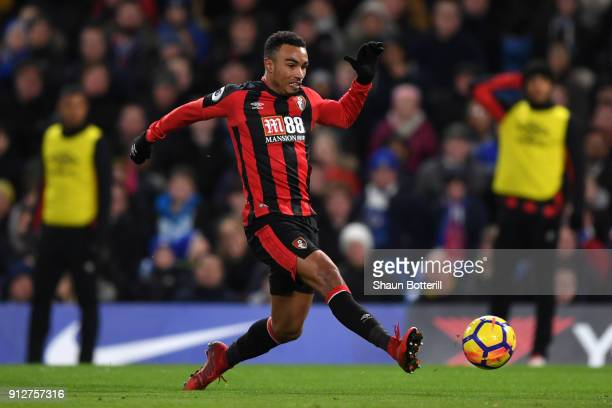 Junior Stanislas of AFC Bournemouth scores his sides second goal during the Premier League match between Chelsea and AFC Bournemouth at Stamford...