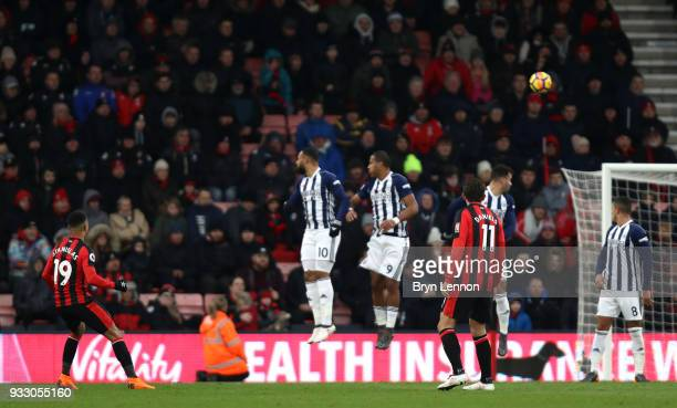 Junior Stanislas of AFC Bournemouth scores his side's second goal during the Premier League match between AFC Bournemouth and West Bromwich Albion at...
