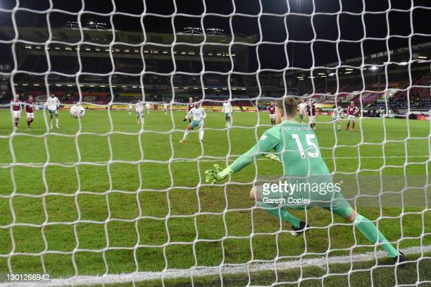 Junior Stanislas of AFC Bournemouth scores their team's second goal from the penalty spot past Bailey Peacock-Farrell of Burnley during The Emirates...