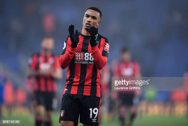 Junior Stanislas of AFC Bournemouth shows appreciation to the fans following the Premier League match between Leicester City and AFC Bournemouth at...