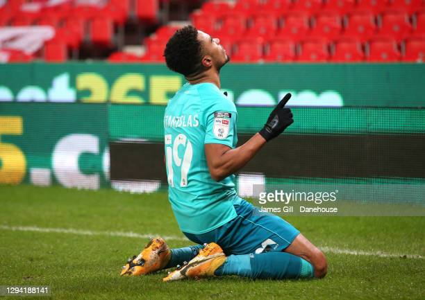 Junior Stanislas of Bournemouth celebrates after scoring the opening goal during the Sky Bet Championship match between Stoke City and AFC...