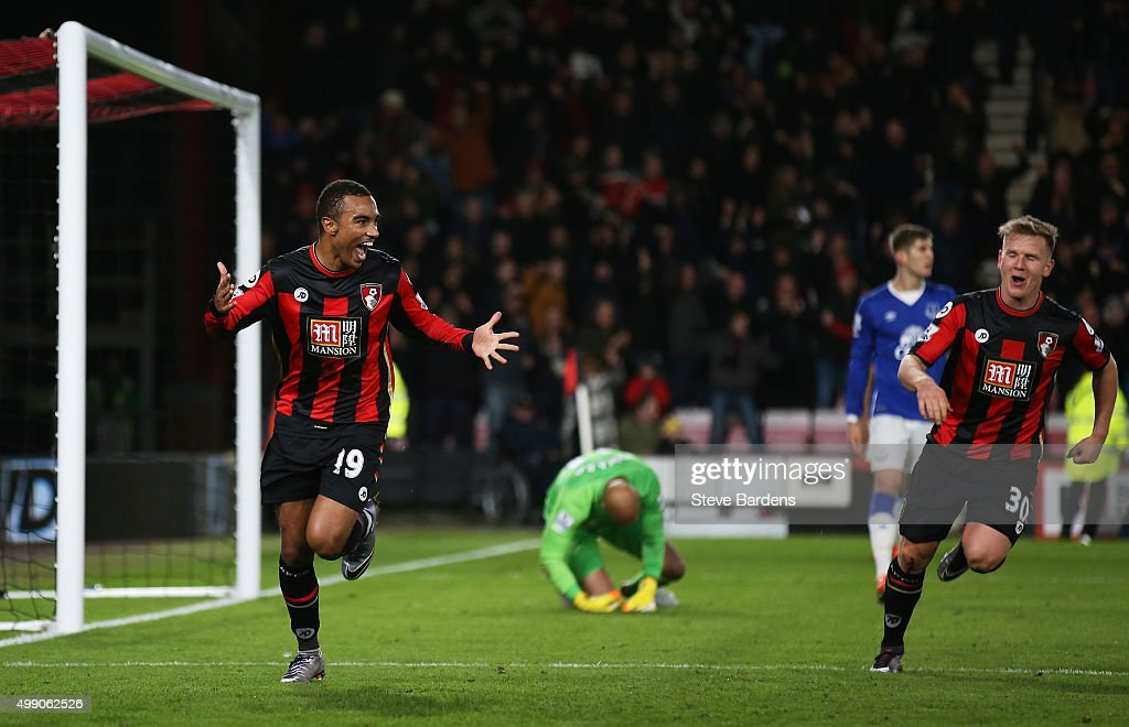 Junior Stanislas (L) of Bournemouth celebrates scoring his team's second goal during the Barclays Premier League match between A.F.C. Bournemouth and Everton at Vitality Stadium on November 28, 2015 in Bournemouth, England.