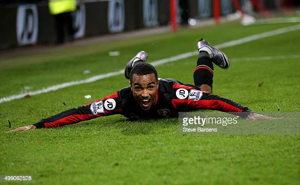 Junior Stanislas of Bournemouth celebrates scoring his team's second goal during the Barclays Premier League match between AFC Bournemouth and...
