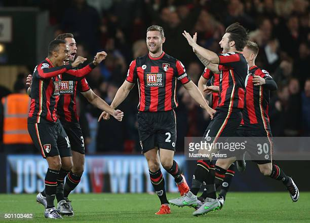 Junior Stanislas of Bournemouth celebrates scoring their first goal during the Barclays Premier League match between AFC Bournemouth and Manchester...