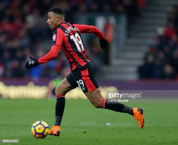 Junior Stanislas of Bournemouth controls the ball during the Premier League match between AFC Bournemouth and West Bromwich Albion at Vitality...