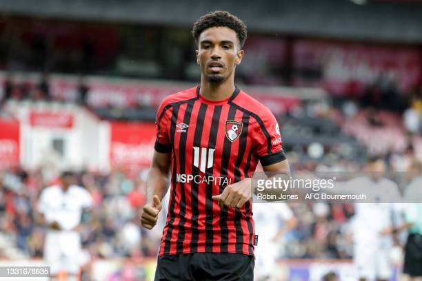 Junior Stanislas of Bournemouth during the Carabao Cup 1st Round match between AFC Bournemouth and MK Dons at Vitality Stadium on July 31, 2021 in...