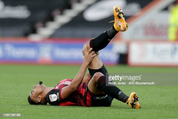 Junior Stanislas of Bournemouth goes down injured during the Sky Bet Championship match between AFC Bournemouth and Derby County at Vitality Stadium...