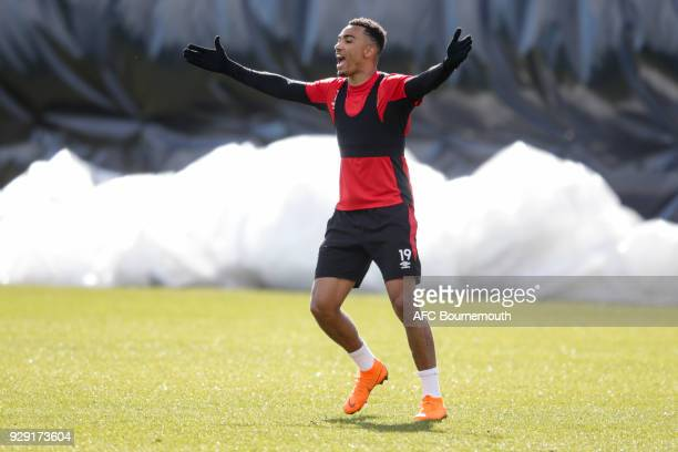 Junior Stanislas of Bournemouth reacts during an AFC Bournemouth training session on March 7 2018 in Bournemouth England